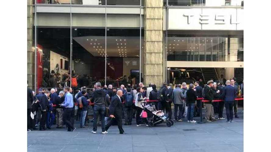 Massive Lines Form For Tesla Model 3 Debut In Australia