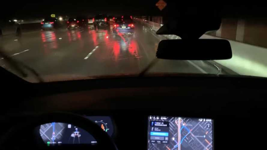 Watch Navigate On Autopilot At Night In Rain: Video