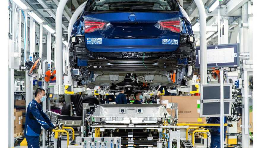 BMW iX3 electric crossover teased on assembly line