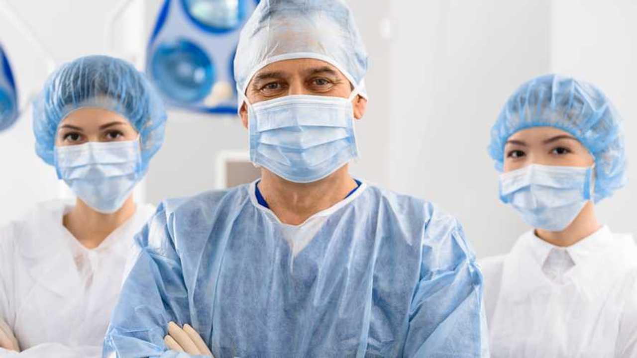 Medics wearing face masks