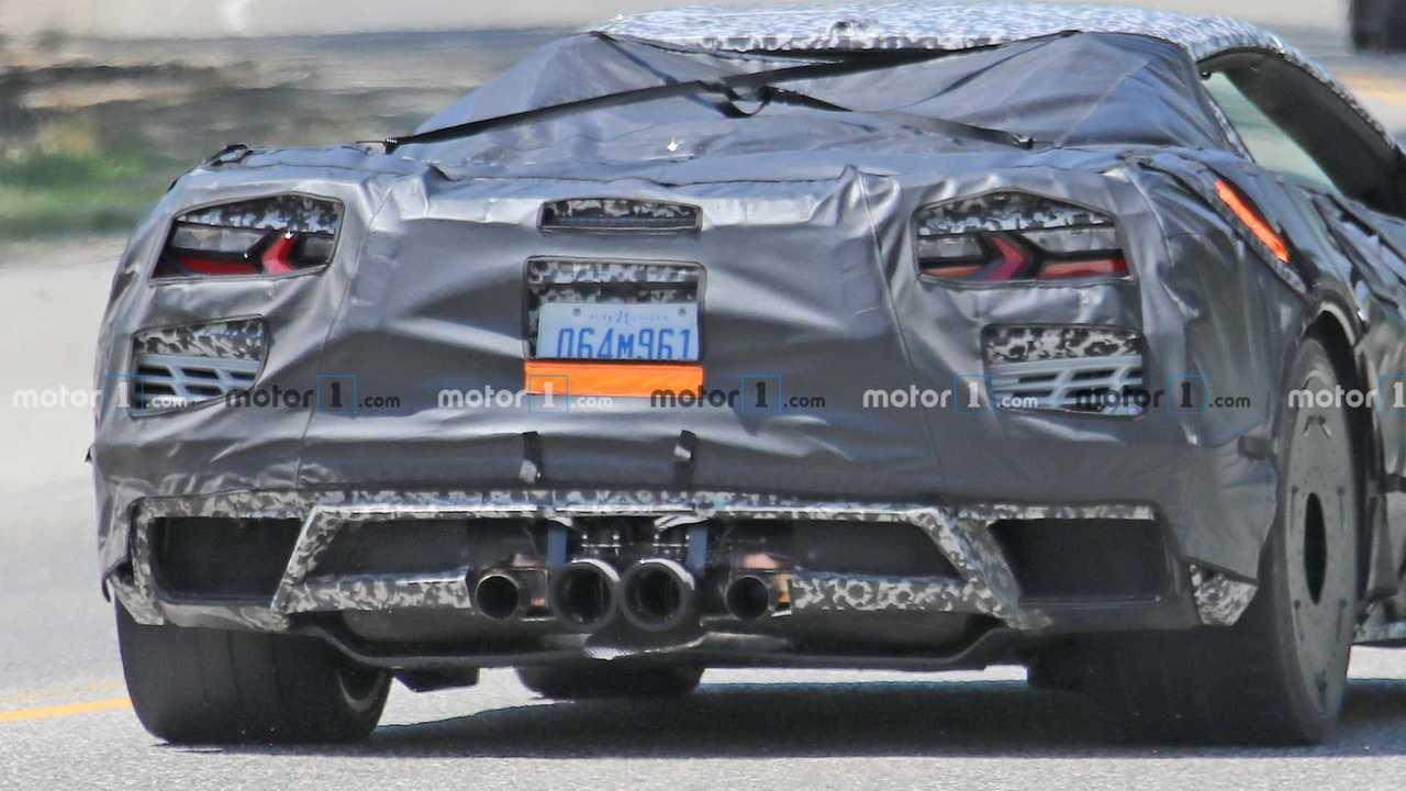 The rear of a C8 Chevrolet Corvette Z06 prototype.