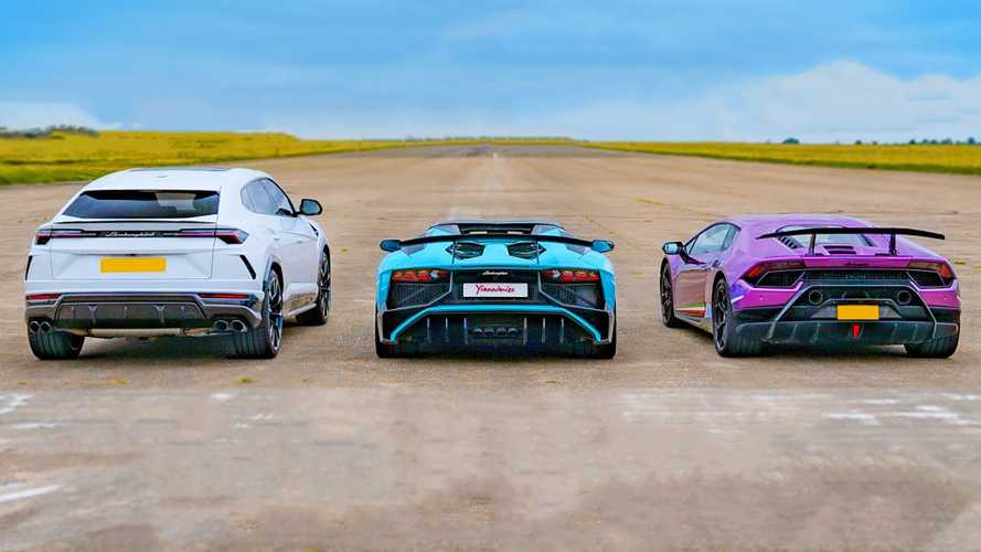 Family wars: Lamborghini Urus meets Aventador and Huracan in drag race