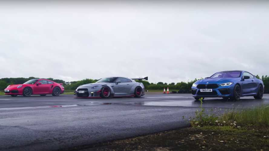 New 911 Turbo S camera car captures BMW M8 vs modified GT-R drag race