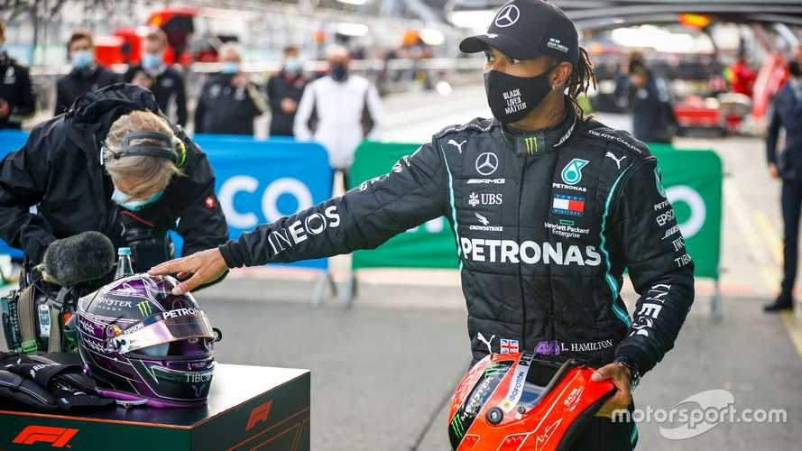 Lewis Hamilton with the helmet of Michael Schumacher at Eifel GP 2020