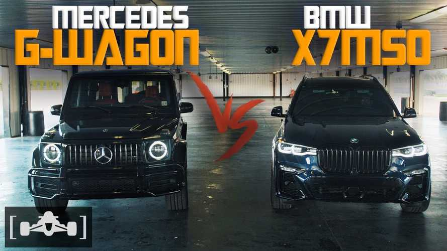 Watch BMW X7 M50i race Mercedes-AMG G63 in luxobarge fight