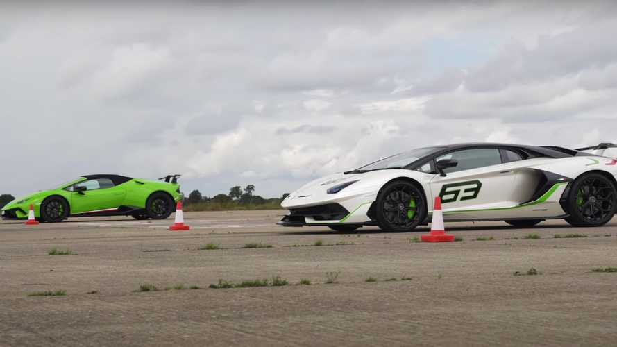 Can Lamborghini Huracan Performante beat Aventador SVJ in a drag race?