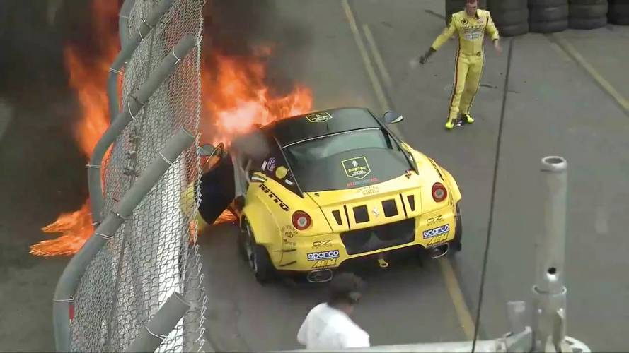 900-HP Supercharged Ferrari 599 Catches Fire During Debut Race