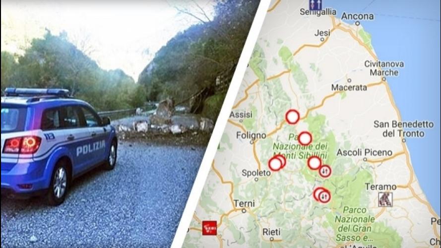Terremoto in Centro Italia, strade chiuse e viabilità