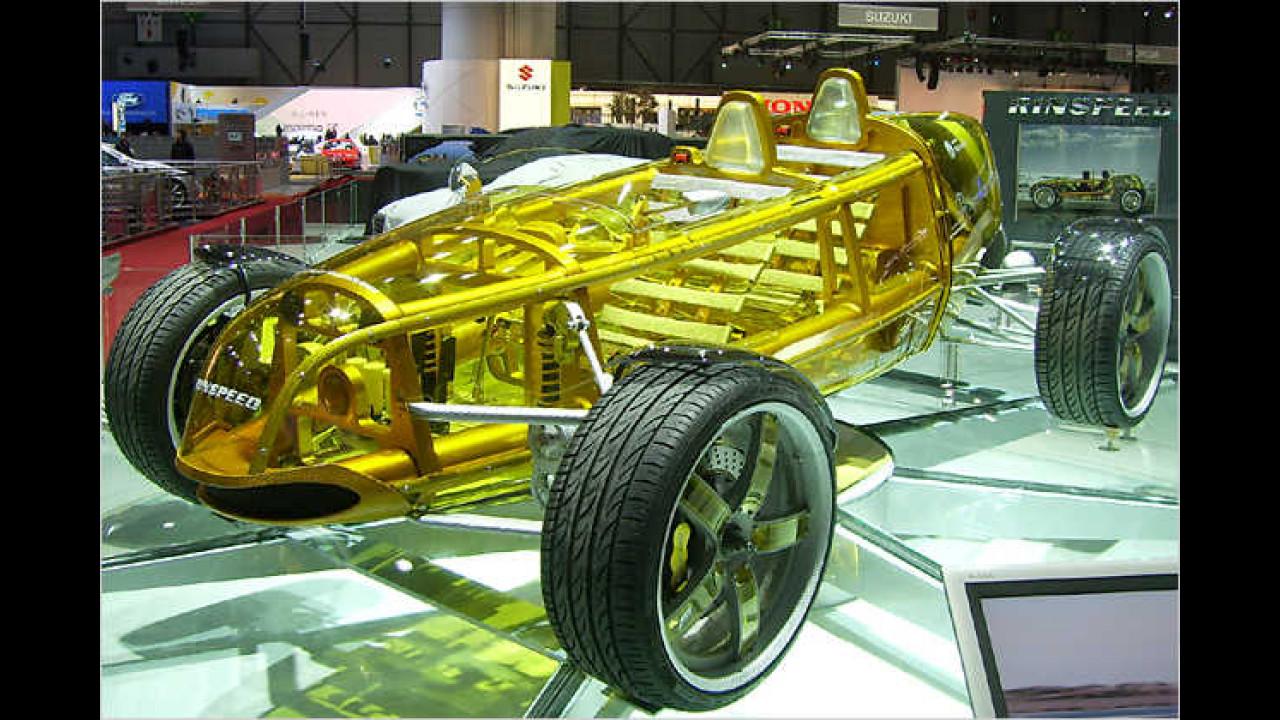 Die Rinspeed-Studie Exasis mit zwei hintereinander liegenden Sitzen wird von einem Bioethanol-Motor angetrieben