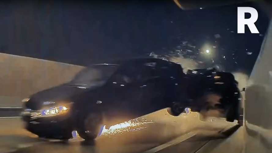 Watch Dodge Challenger Cause Massive Crash Trying To Overtake Tesla Model Y