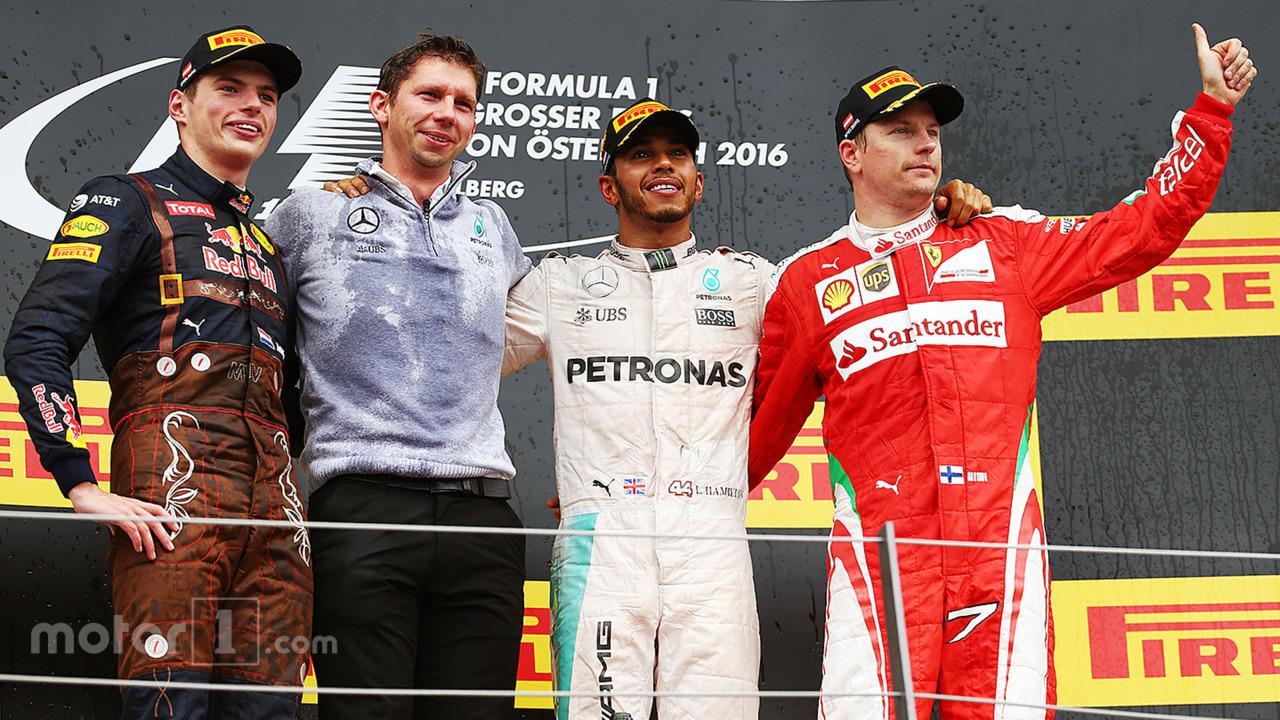 Austrian GP 2016 race podium- race winner Lewis Hamilton, second place Max Verstappen, third place Kimi Raikkonen