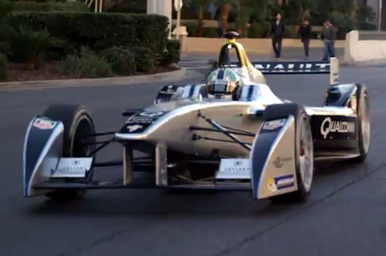 Electric Racecar Burns Down Las Vegas Strip [video]