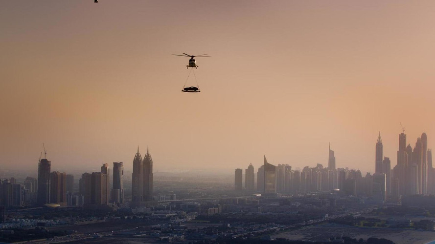 Aston Martin airlifts Vanquish to top of Burj Al Arab hotel [video]