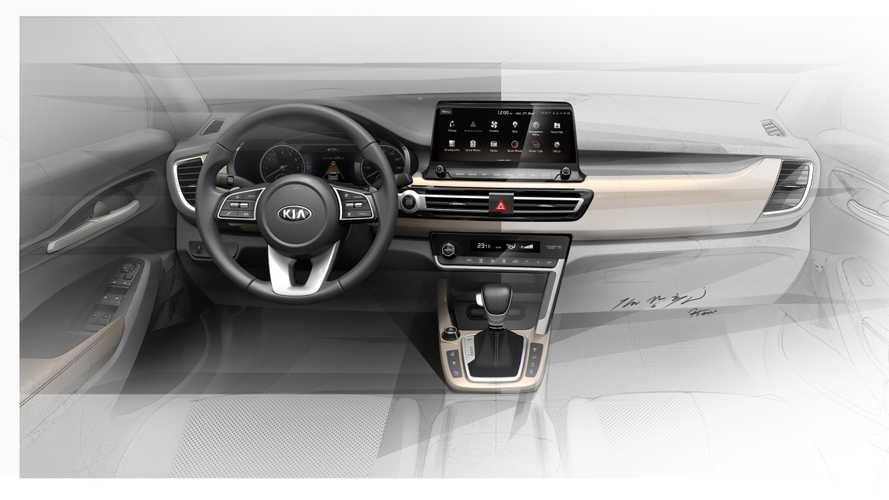 2020 Kia Small SUV interior sketches show wide touchscreen