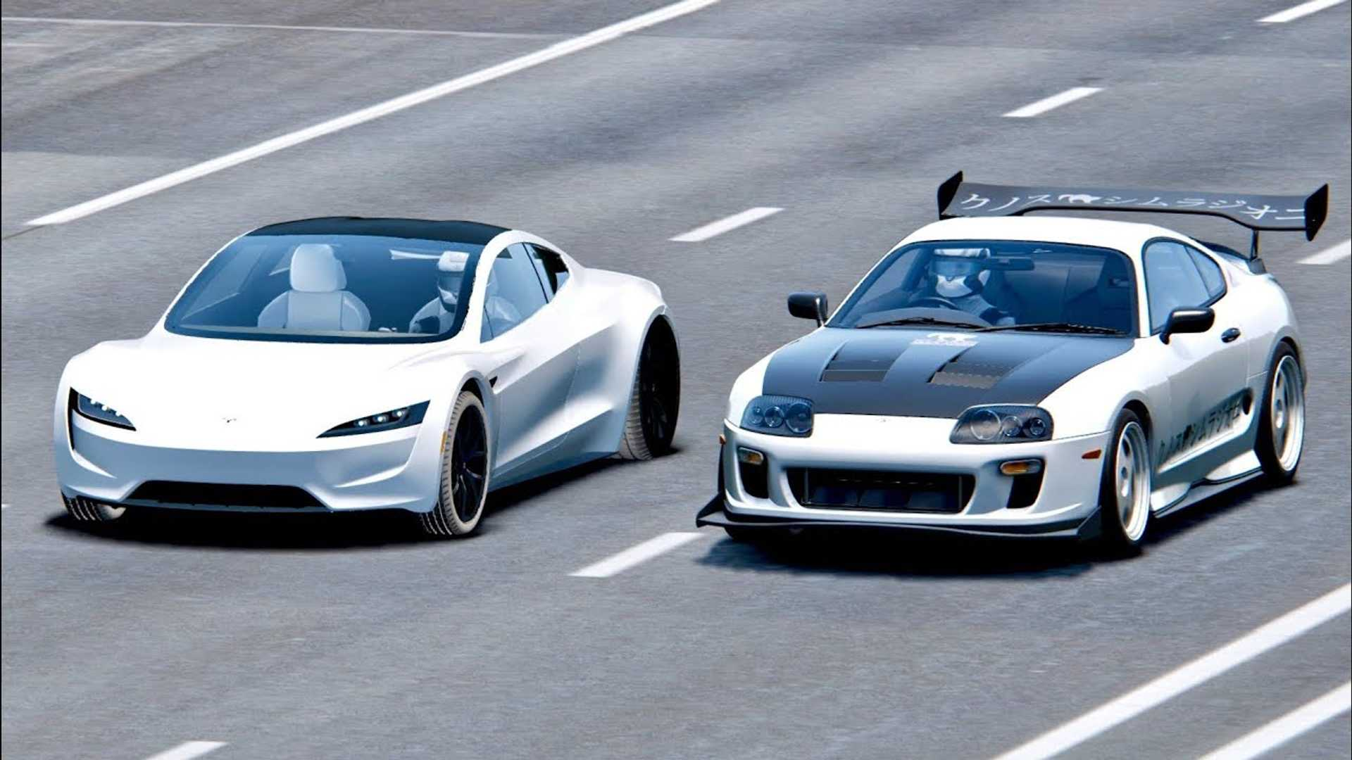 Watch New Tesla Roadster Take Down Toyota Supra Simulated Race Video