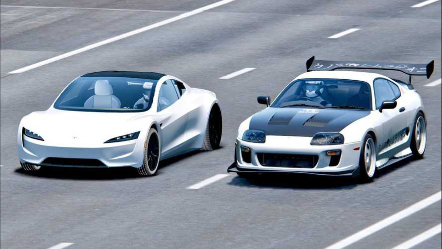 Watch New Tesla Roadster Take Down Toyota Supra: Simulated Race Video