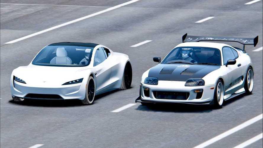 Watch New Tesla Roadster Take Down Toyota Supra: Simulated Race Video