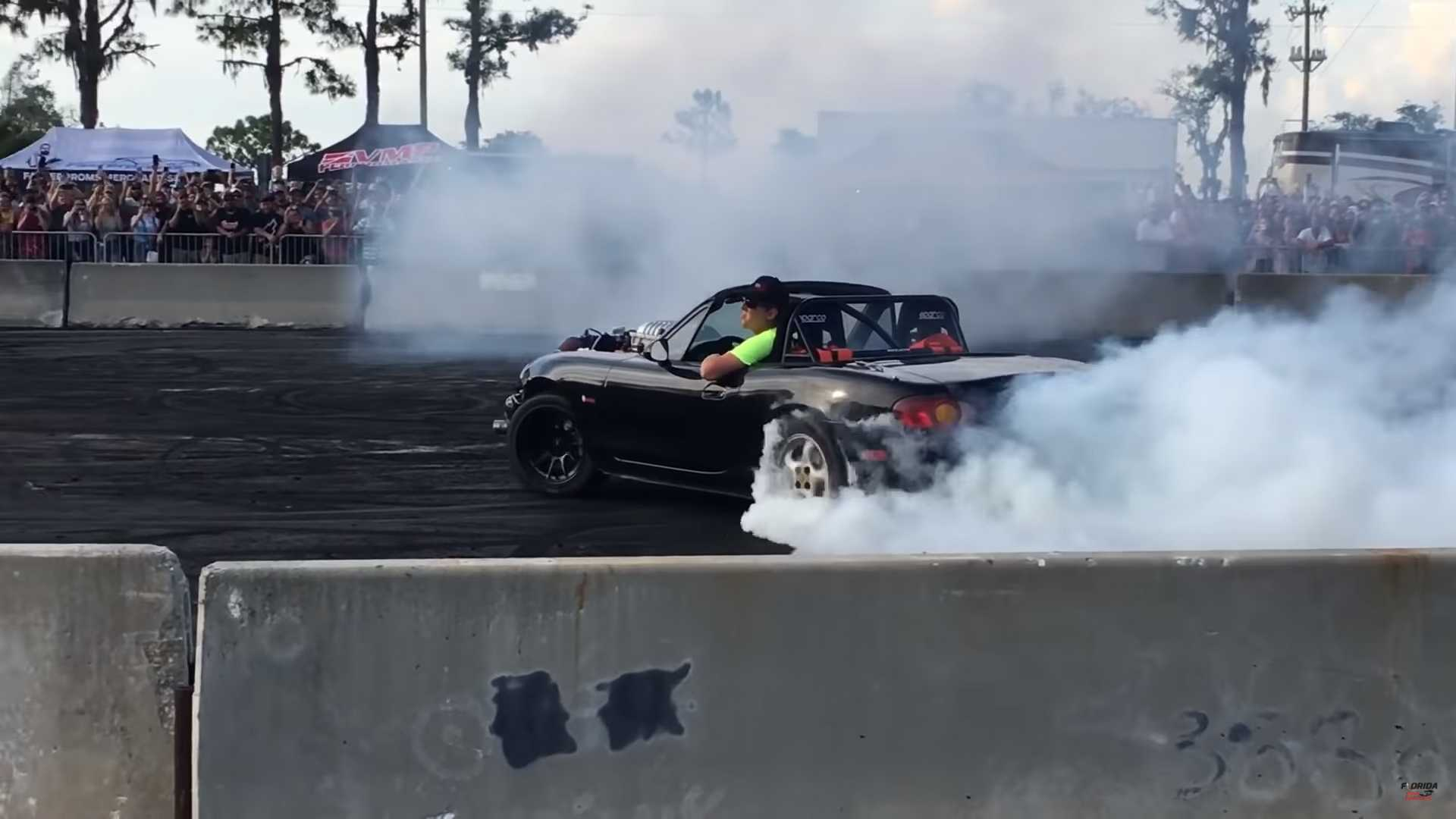See Hellcat-Swapped Mazda MX-5 Disappear In Its Own Tire Smoke