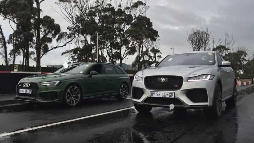 Audi RS4 Avant, Jaguar F-Pace SVR meet in wet drag race