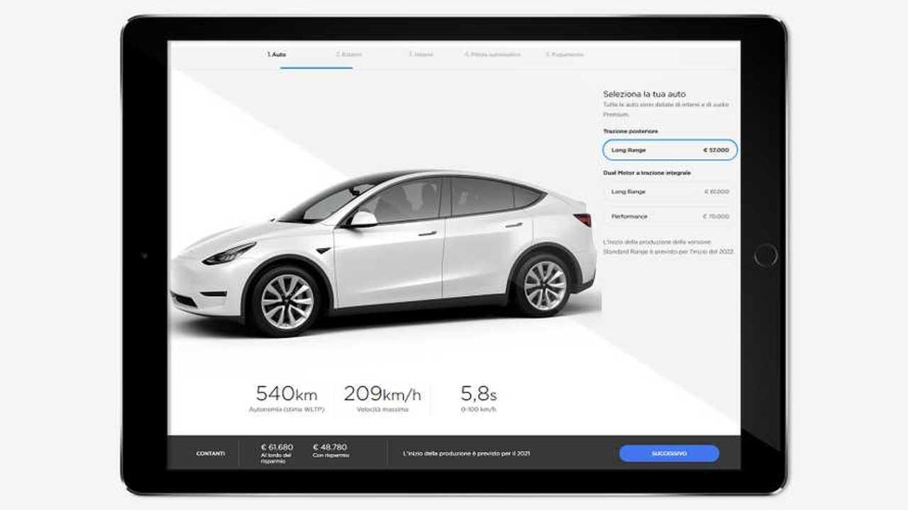 Tesla Model Y, il configuratore online