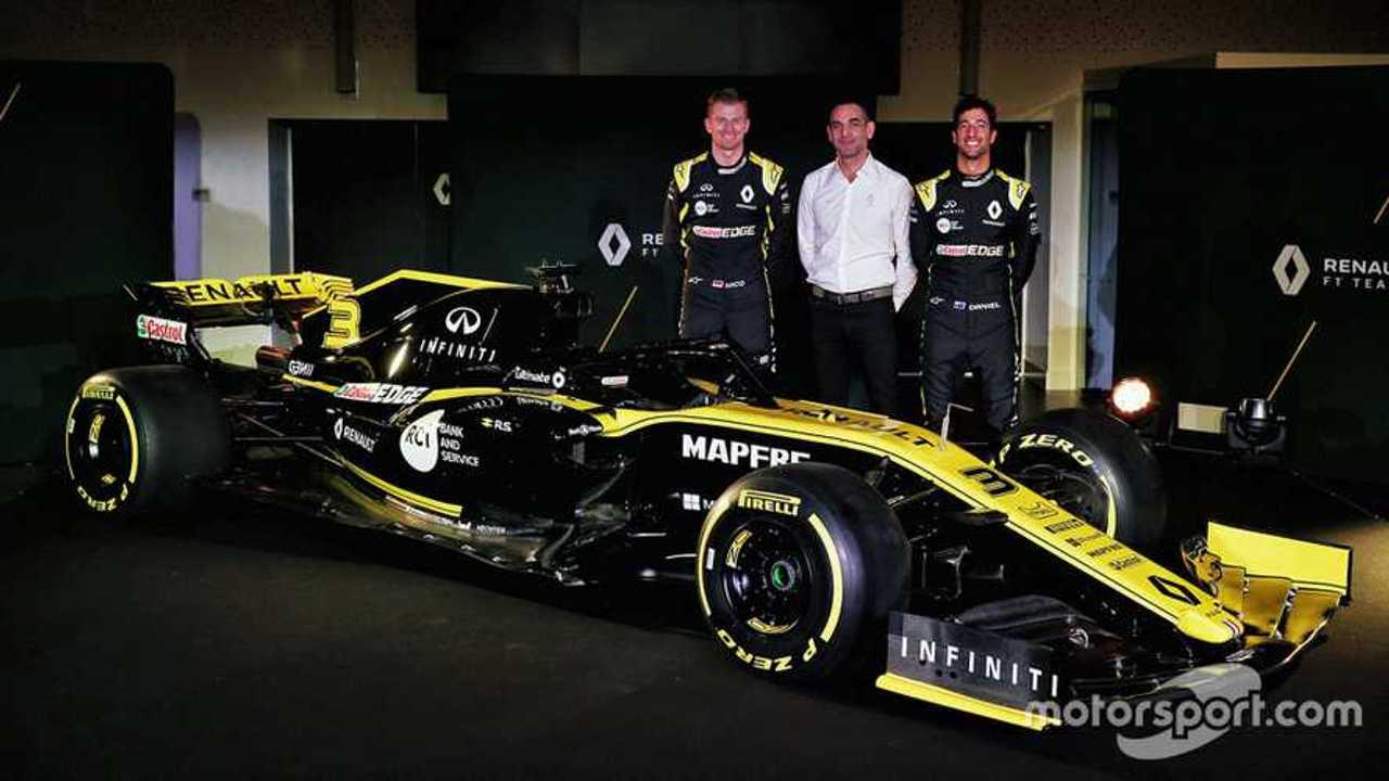 Daniel Ricciardo, Nico Hulkenberg, Cyril Abiteboul at Renault RS19 launch