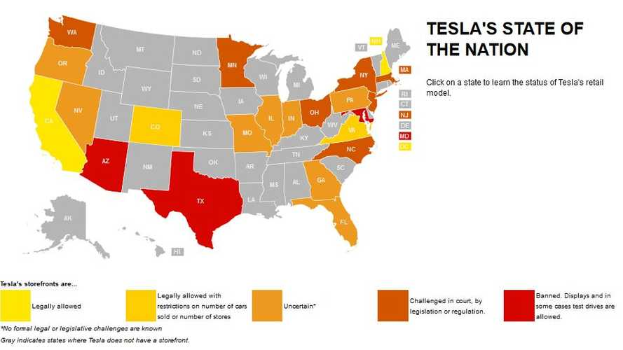 Tesla Motors' State-By-State Dealer Battle - Interactive Map Via Automotive News