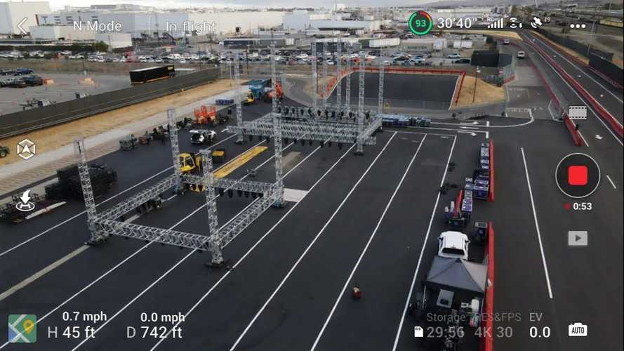 Check Out Drone Footage Of Tesla's Model S Plaid Event Site