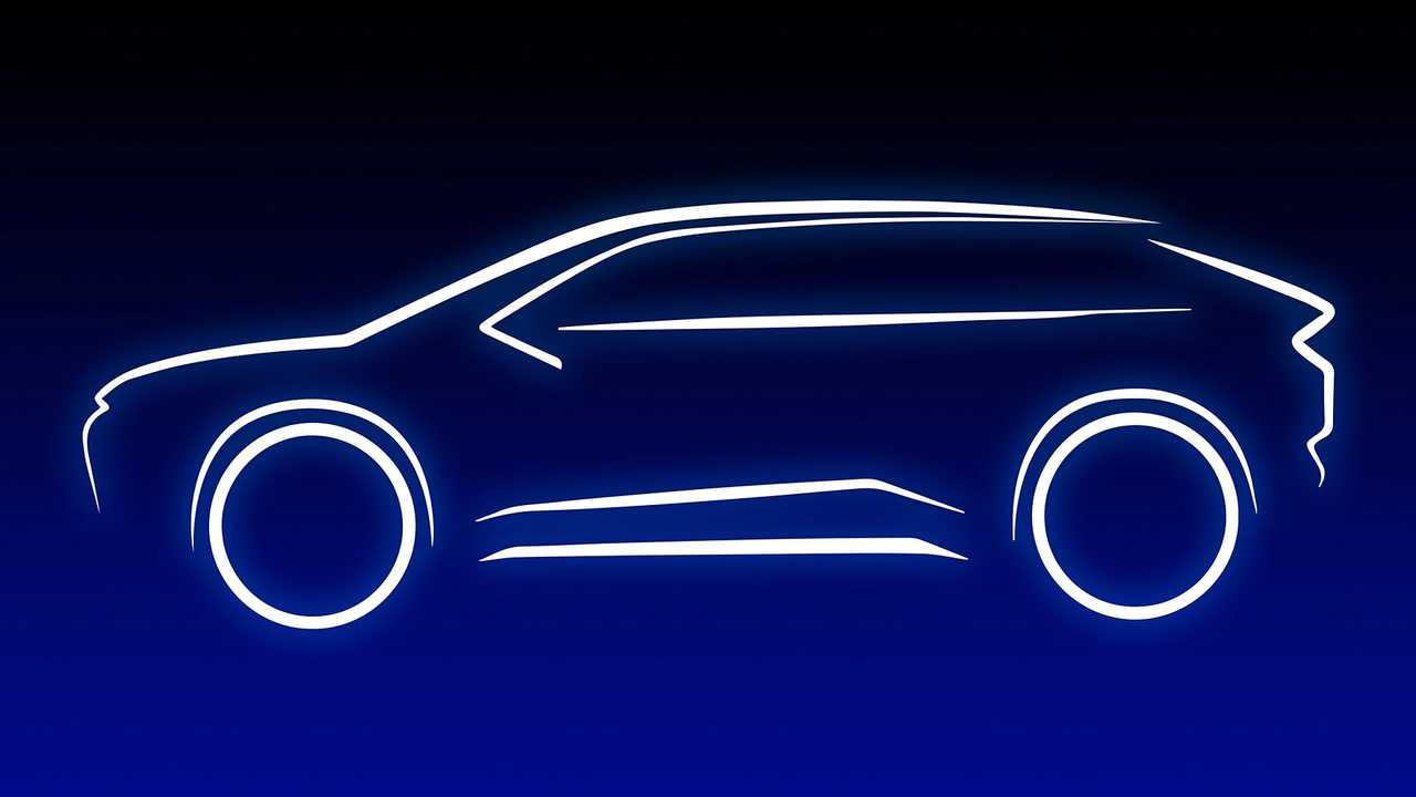 The teaser of the first electric SUV Toyota
