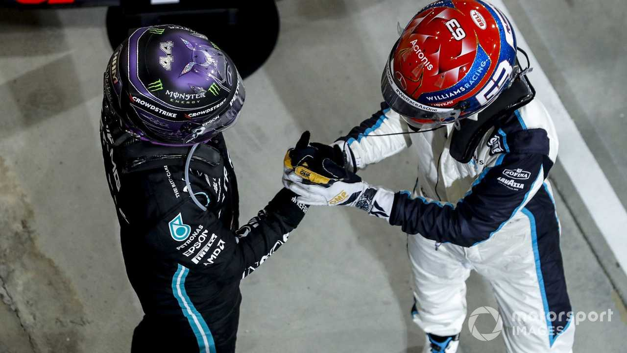 Lewis Hamilton with George Russell at Bahrain GP 2021