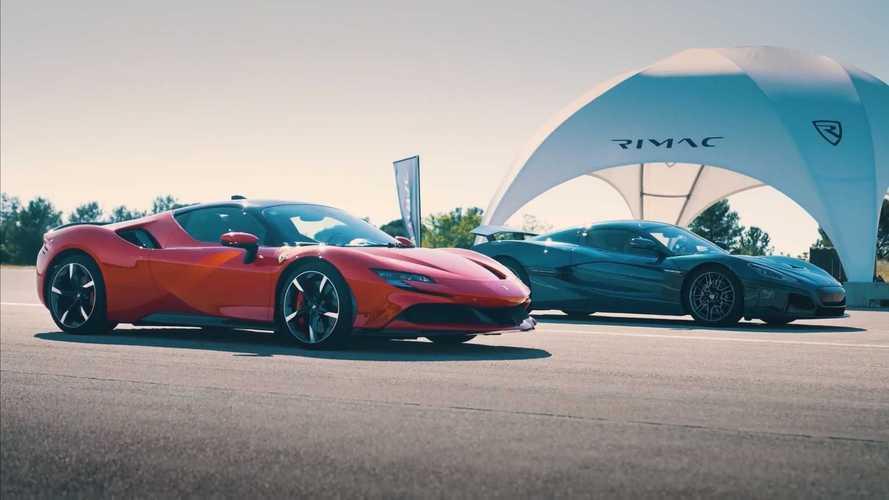 Rimac Nevera ile Ferrari SF90 Stradale'in drag yarışını izleyin
