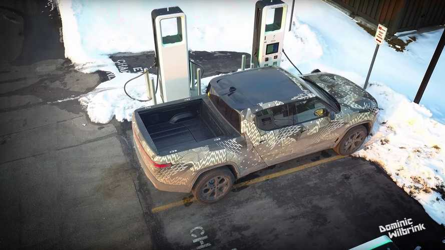 See Rivian R1T Spotted At EA Fast Charging Station: What's Underneath?