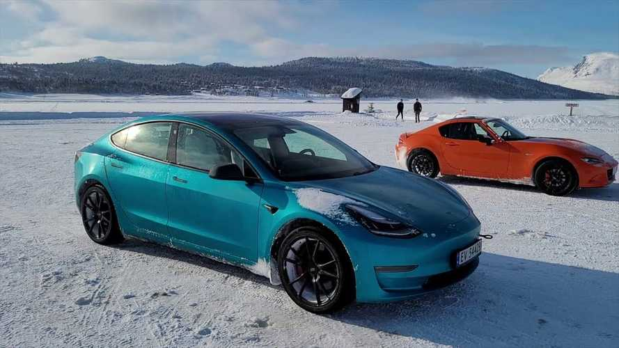Watch Tesla Model 3 Performance Drifting In The Snow