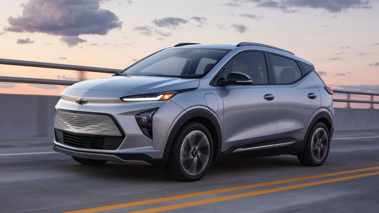 The 2022 Bolt EUV is seen driving on a highway.