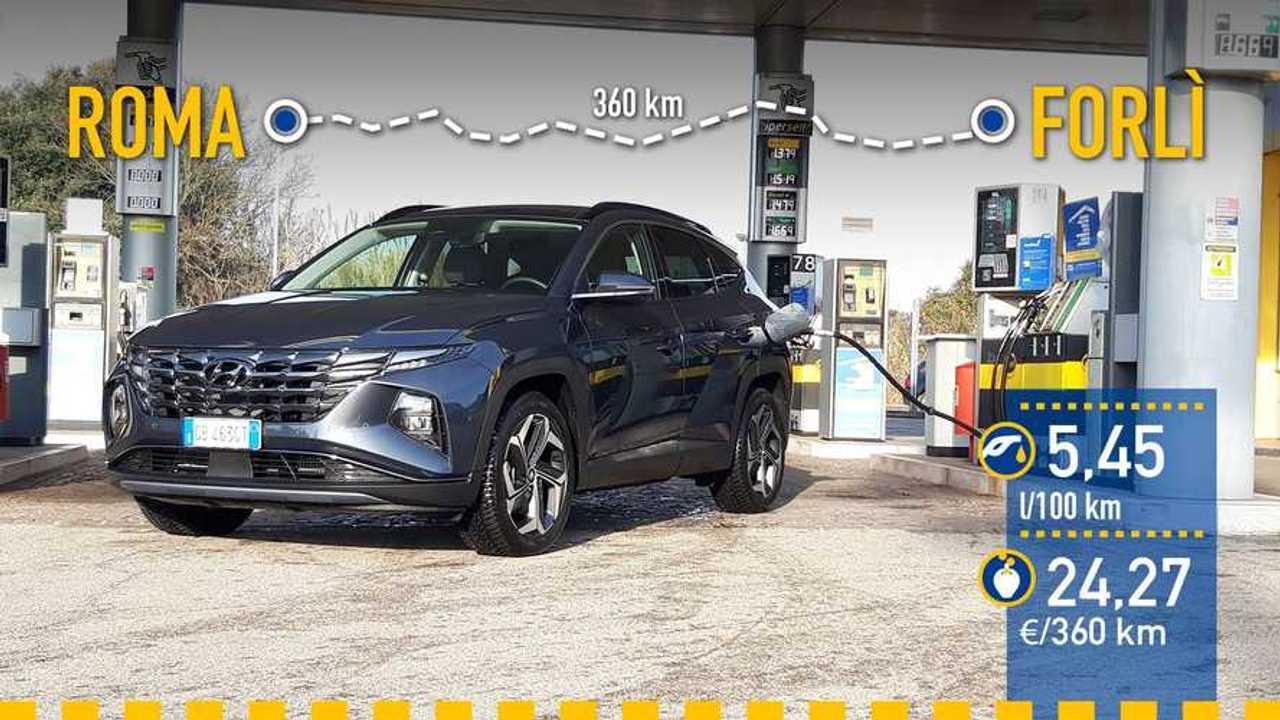 Hyundai Tucson Híbrido 2021, prueba de consumo