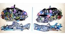 Ortadan motorlu Chevrolet Corvette CAD çizimleri