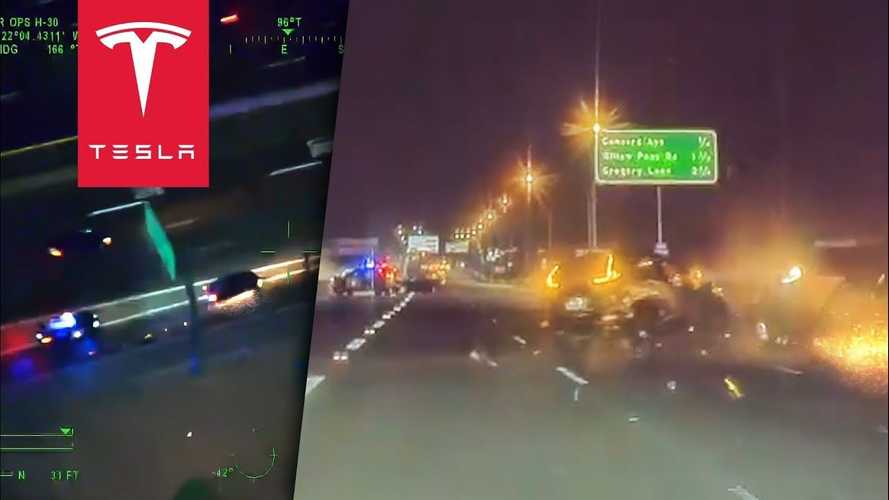 Tesla captures crazy police chase: Copters, crashes, carjackings