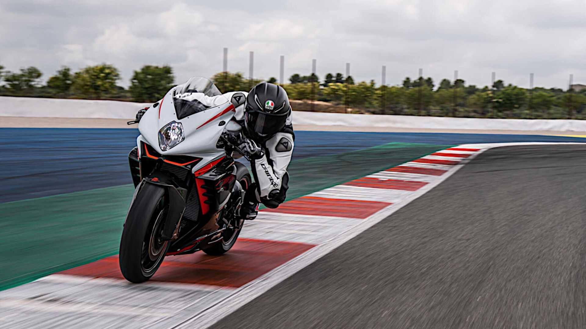 2022 MV Agusta F3 RR - Front Left Angle View on Track