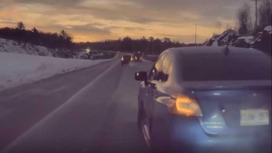 Watch Subaru WRX Cut Off And Nearly Sideswipe A Tesla Model 3
