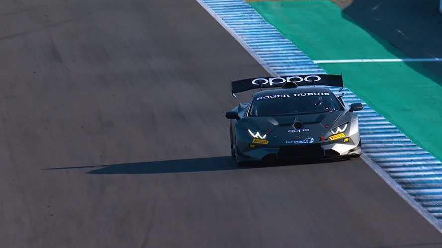 Il test in pista con la Lamborghini Super Trofeo