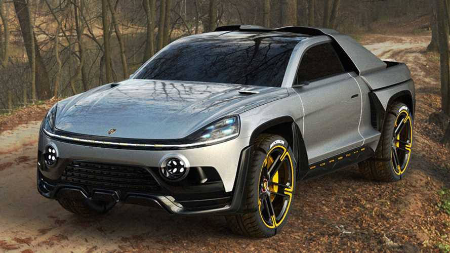 Designer Conjures Up Slick Porsche Electric Pickup Truck
