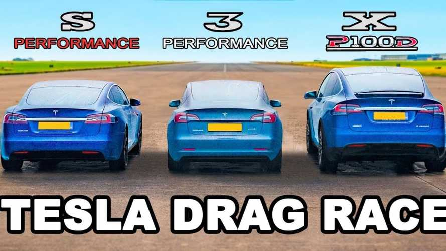 Watch Tesla Model S Drag Race Model 3 Performance, Model X P100D