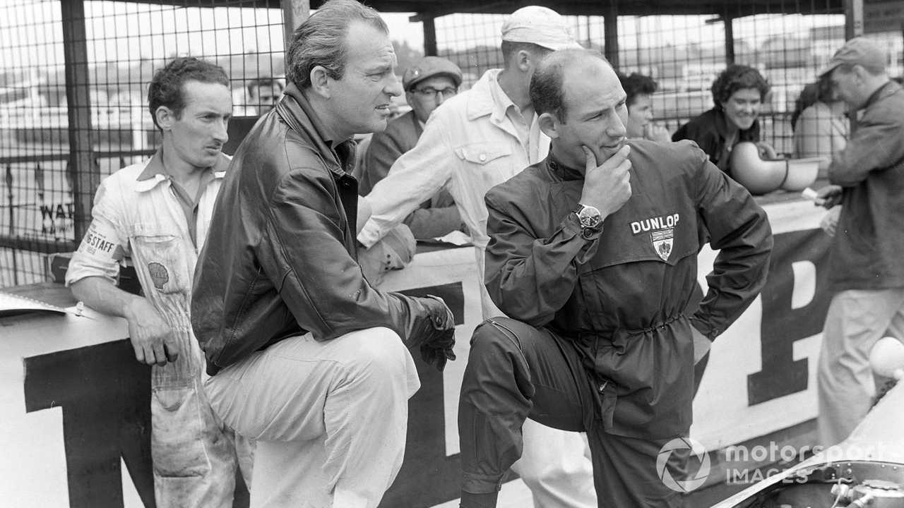 Harry Schell with Stirling Moss at British GP