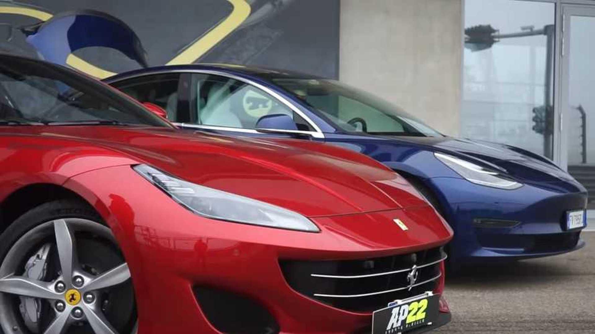 Watch Tesla Model 3 Performance Challenge Ferrari Portofino