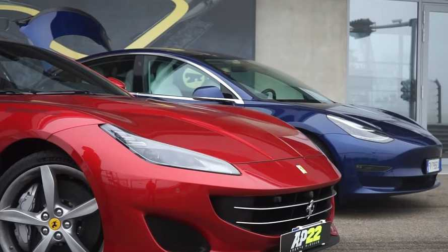 Watch Tesla Model 3 Performance Challenge Ferrari Portofino