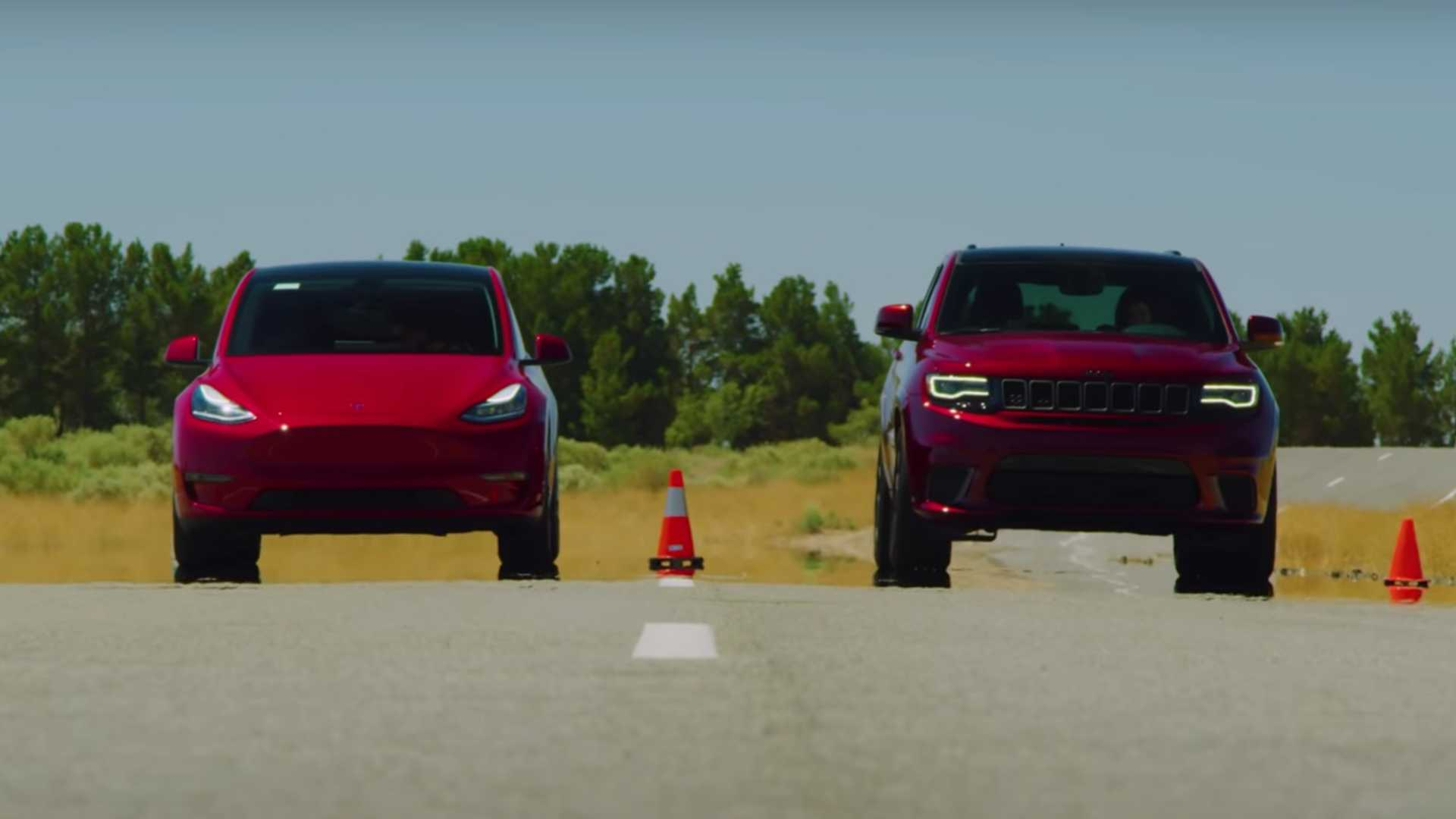 Watch Tesla Model Y Duel Jeep Trackhawk In A Red Hot Drag Race