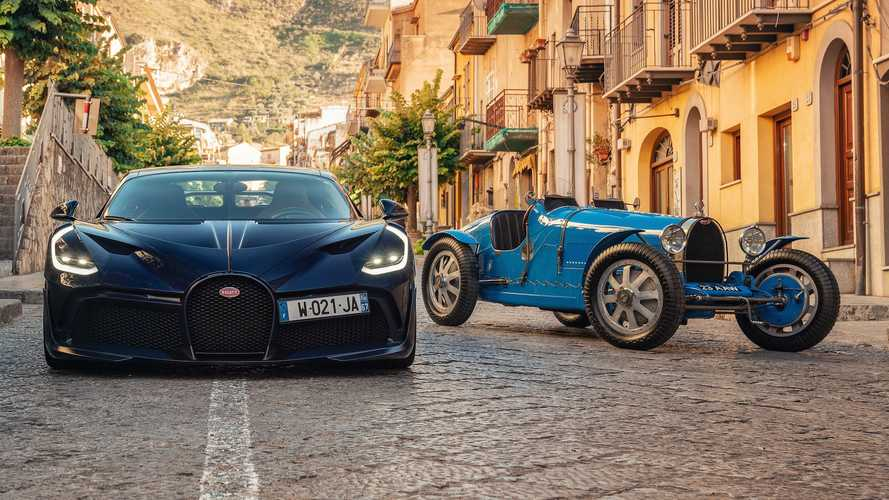 Bugatti Divo meets way older brother, the Type 35, in historic reunion