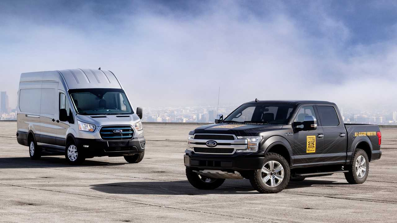 Ford E-Transit (left) and Ford F-150 Electric prototype (right)