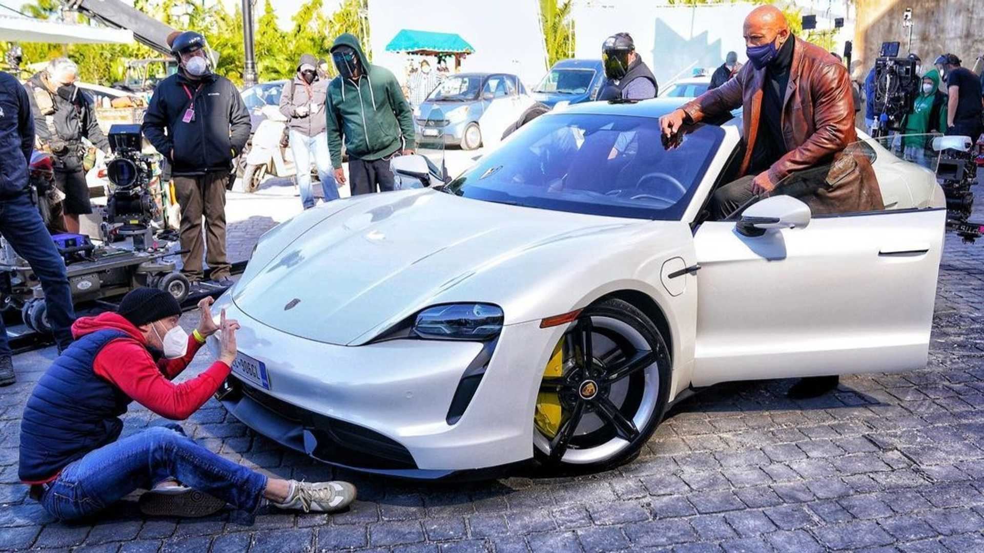The Rock Realizes He Can't Fit In A Porsche Taycan While On Movie Set