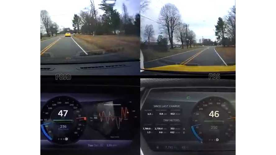Tesla Model S P85D Versus P85 - Video Efficiency Comparison Test