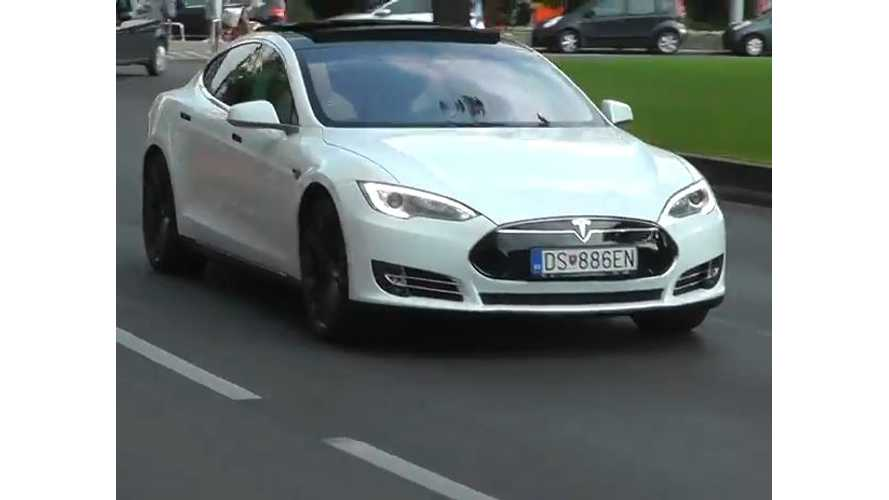 Spotted: Tesla Model S In Budapest - Video